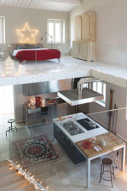 loft with glass balustrade