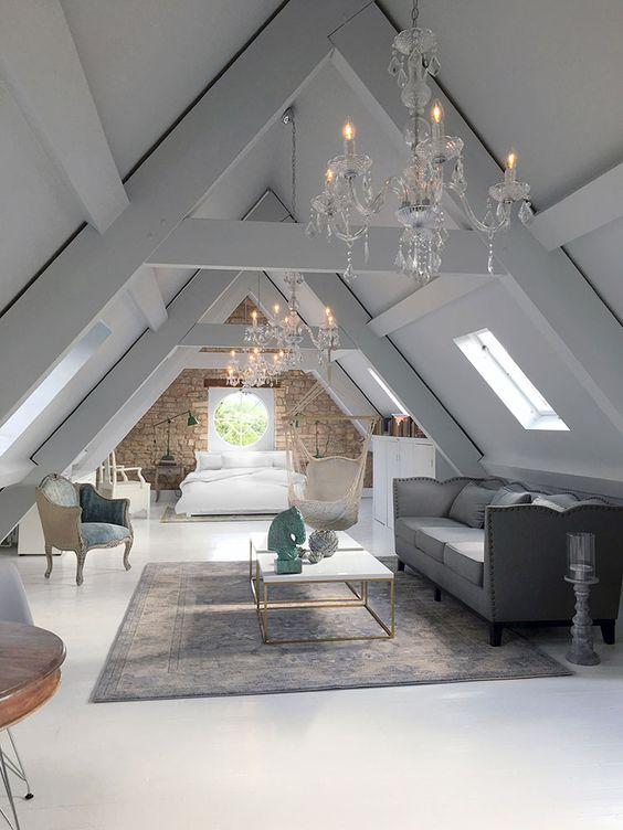elegant attic bedroom