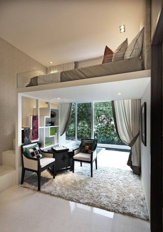 study with loft bedroom