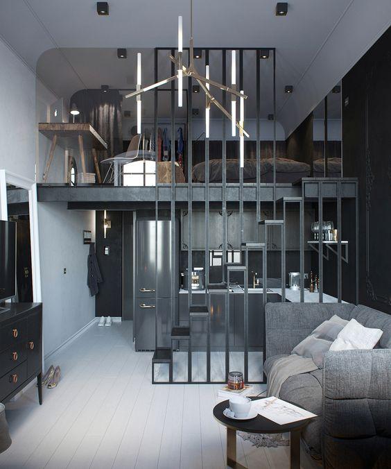 grey bachelor's apartment
