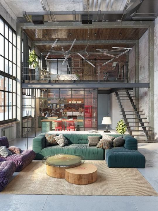 industrial apartment with a loft