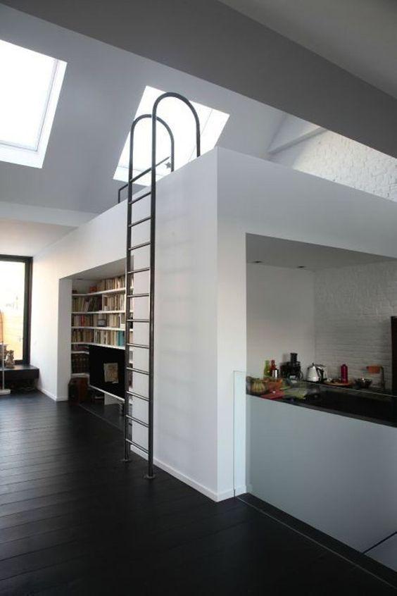 modern apartment with a loft