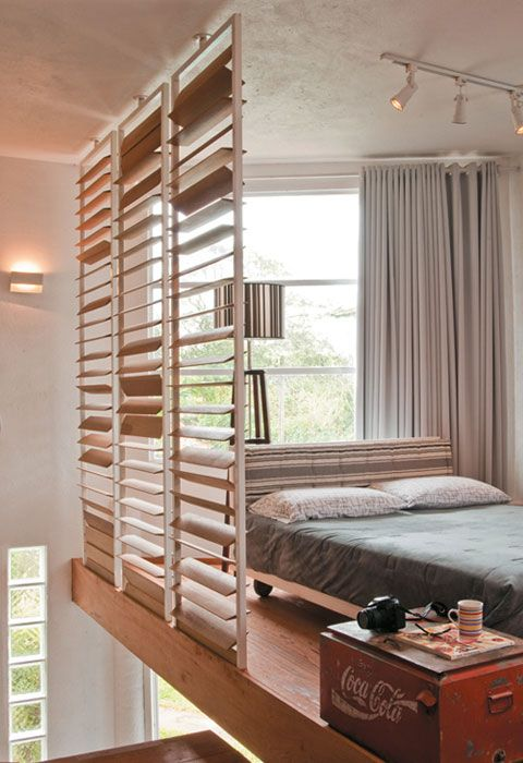 loft bedroom with wood slats