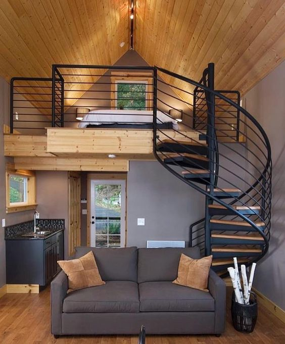 tiny house with spiral staircase