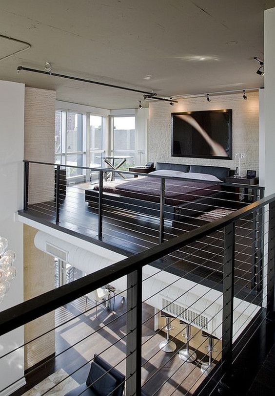 loft bedroom with wire balustrade