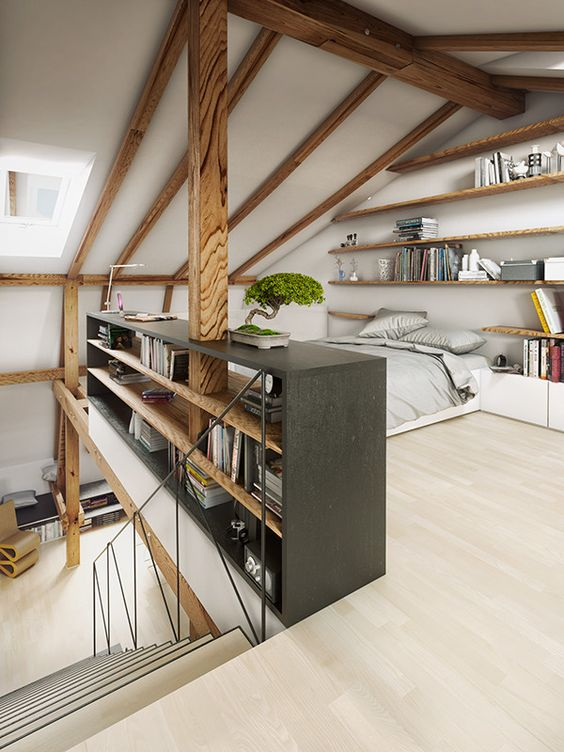 spacious and organized loft bedroom