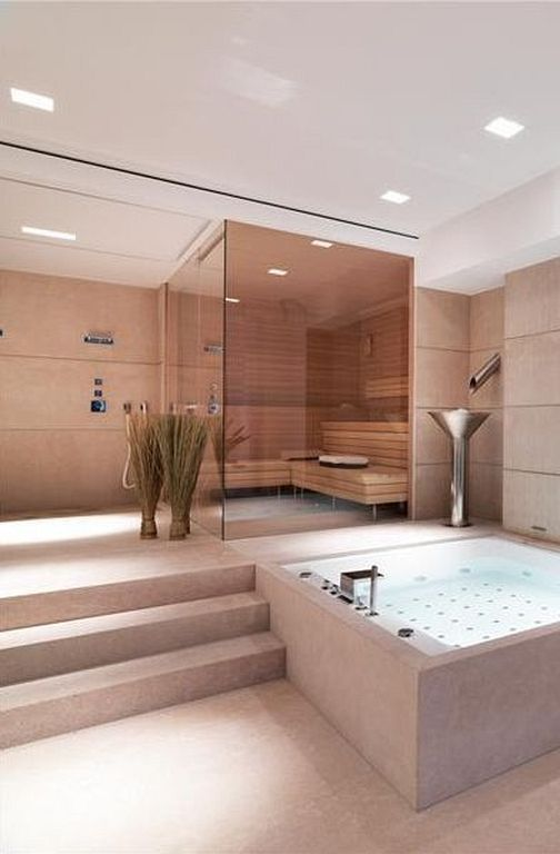 bathroom with jacuzzi and sauna