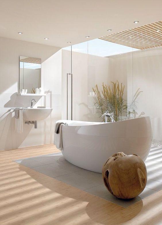 modern bathroom with skylights