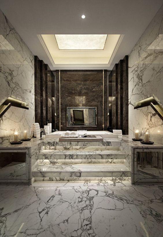 luxurious bathroom with a dais