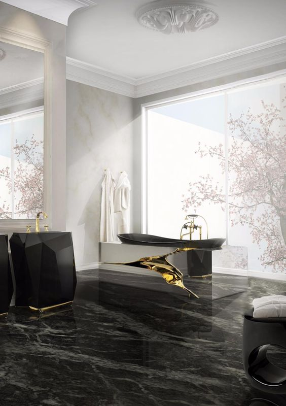 black and gold luxurious bathroom