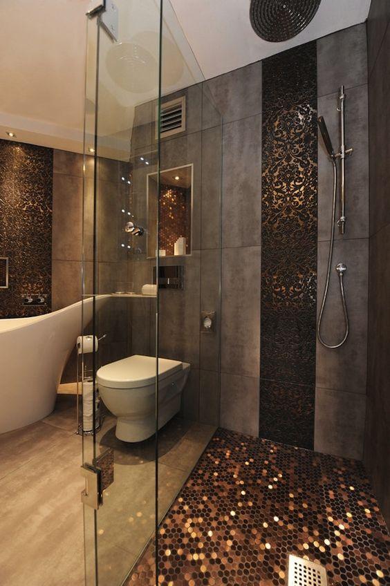 concrete and copper bathroom