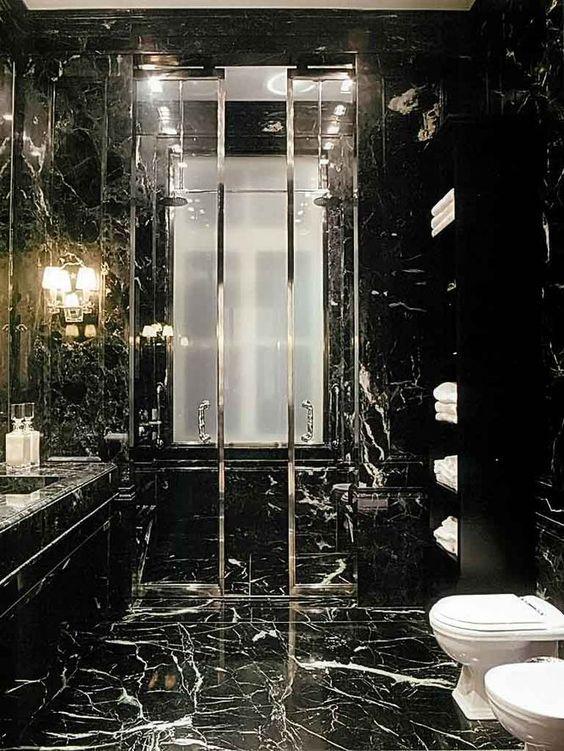 luxurious black marble bathroom