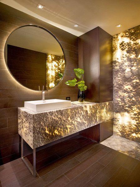 bathroom with onyx walls