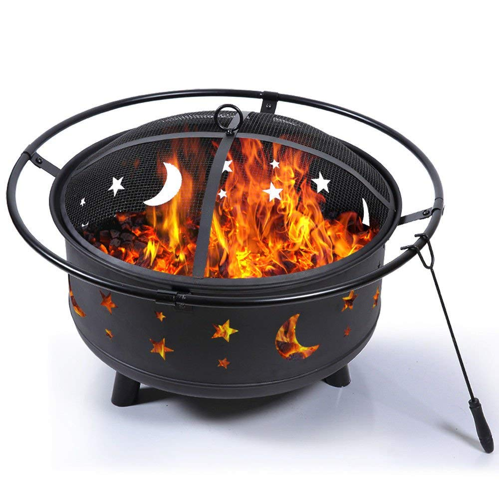 black etched metal fire pit