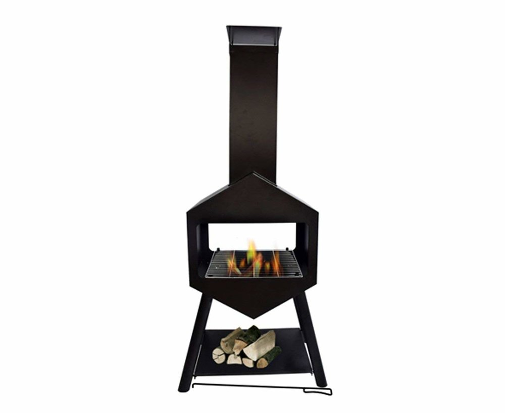 black outdoor fire pit and grill
