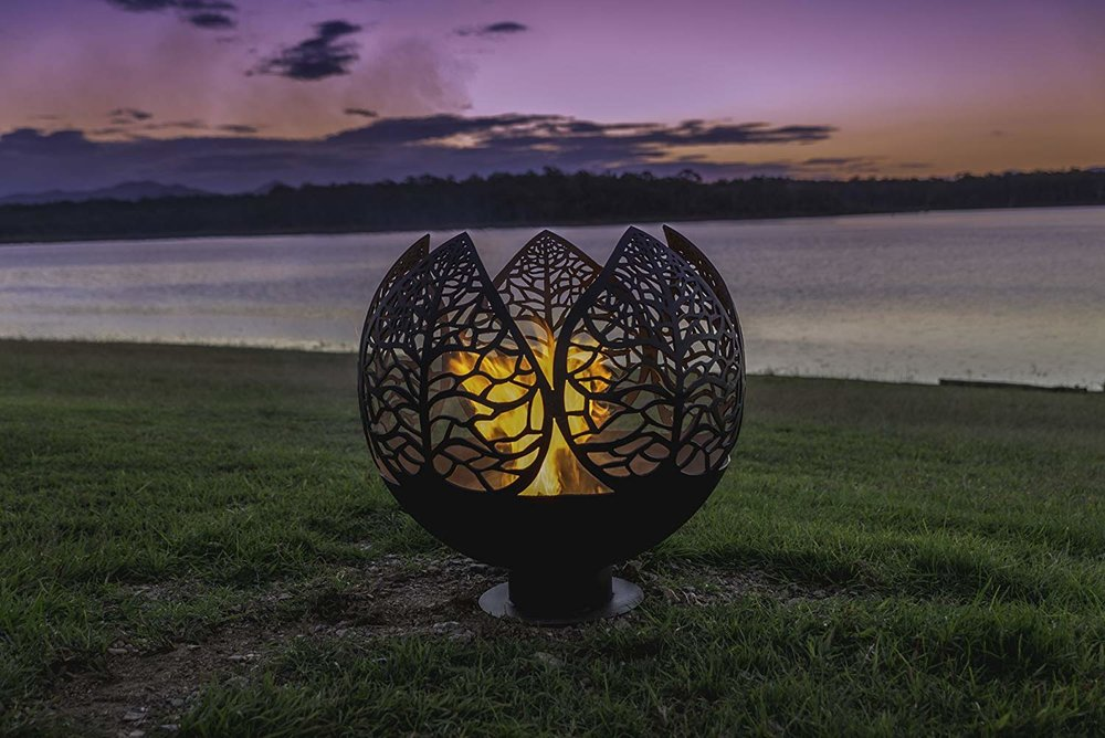 etched metal fire pit sphere