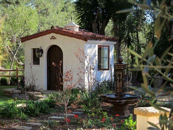 Spanish style backyard shed