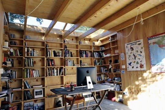 shed office with skylights