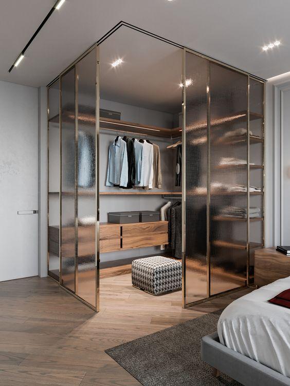 corner glass closet