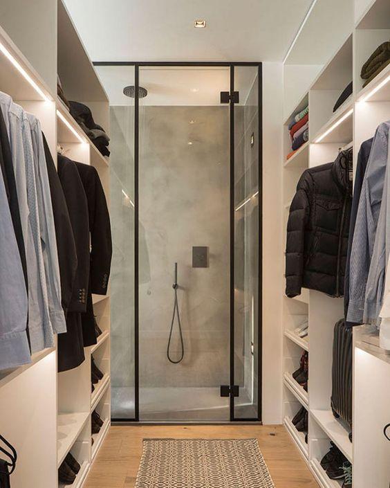 shower in a closet