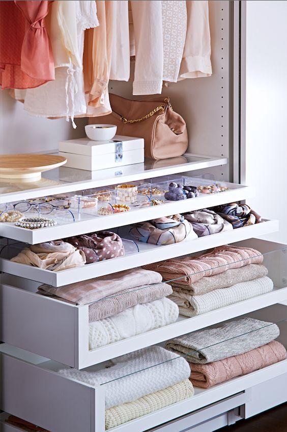 glass closet drawers