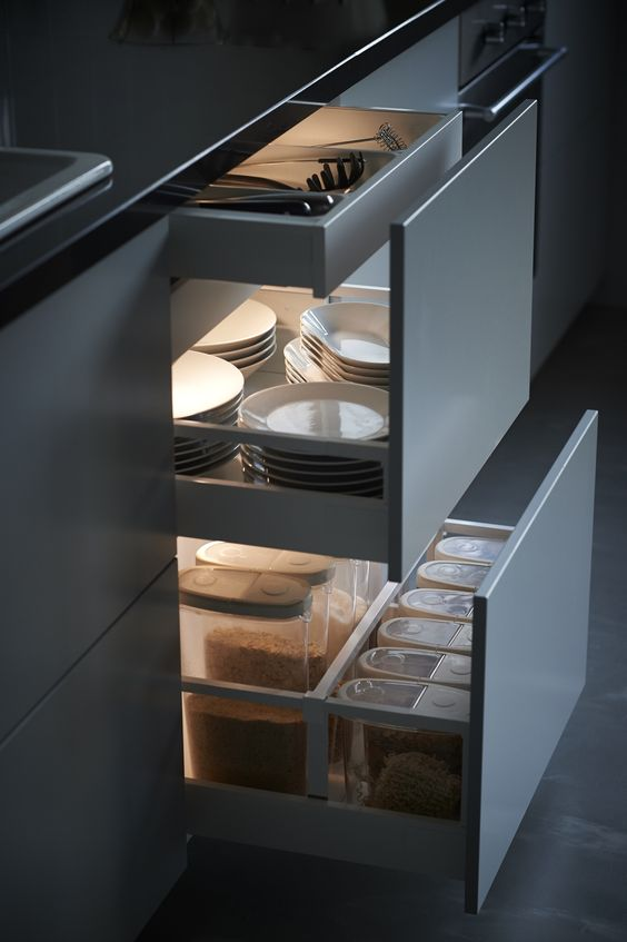 modern pantry drawers