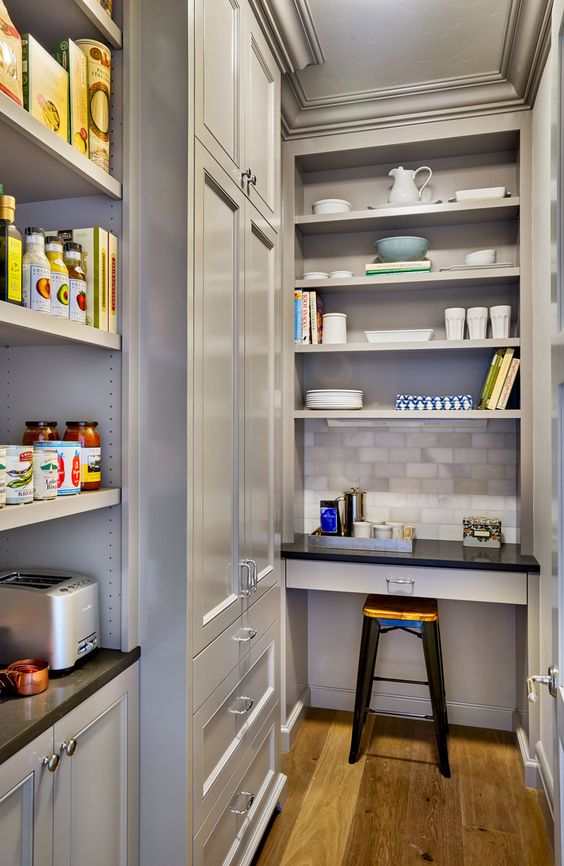 modern pantry with desk
