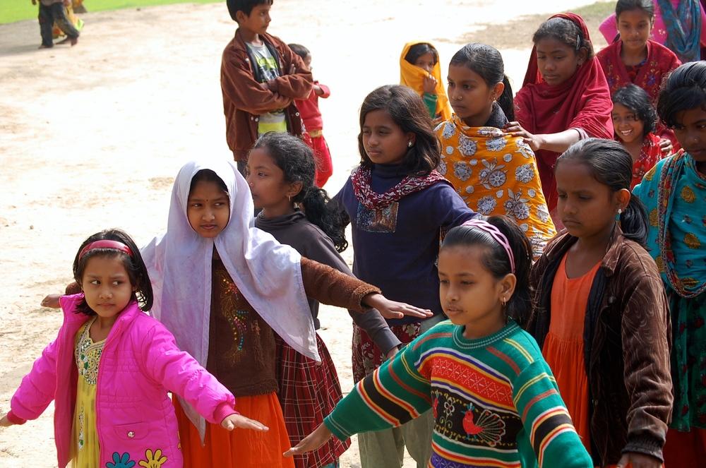 Village children lining up