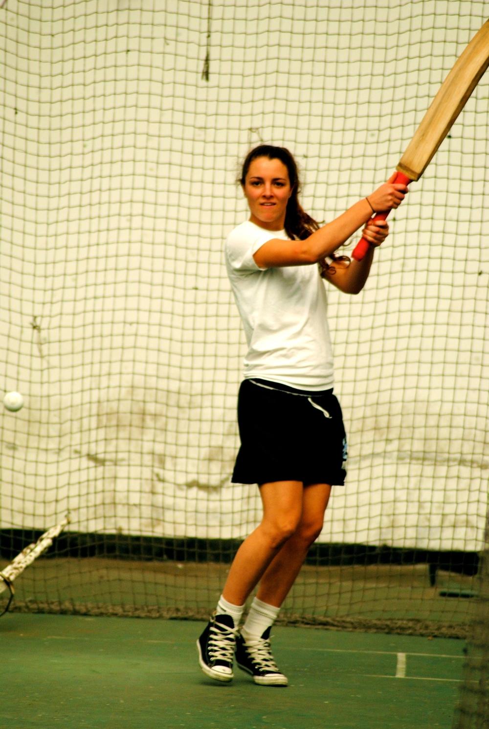 Hannah playing cricket