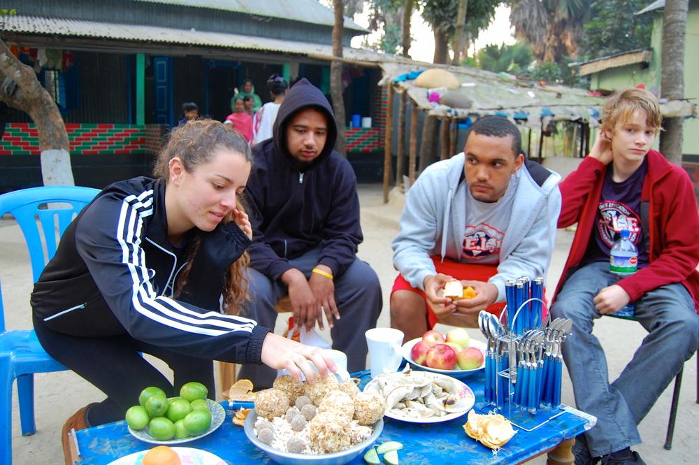 Enjoying village hospitality