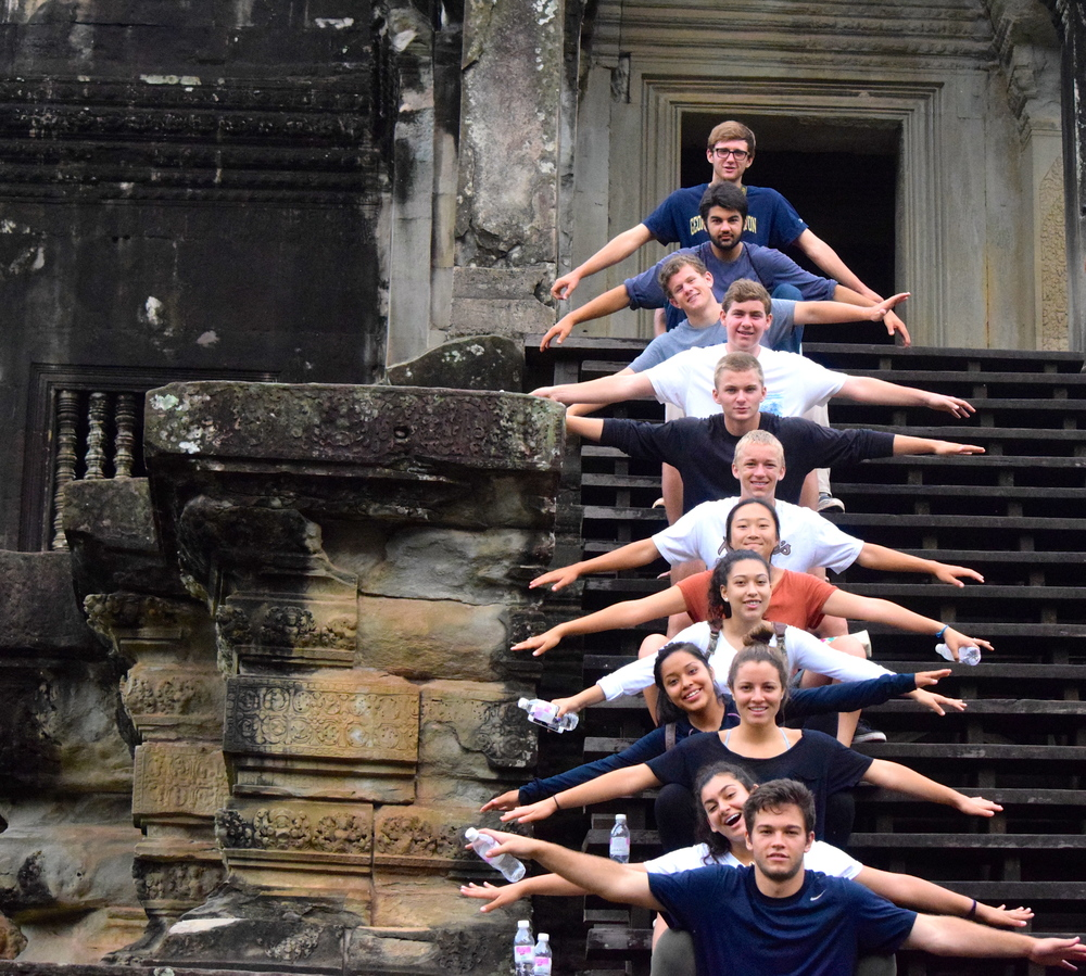 Group photo on the stairs inside Angor Wat