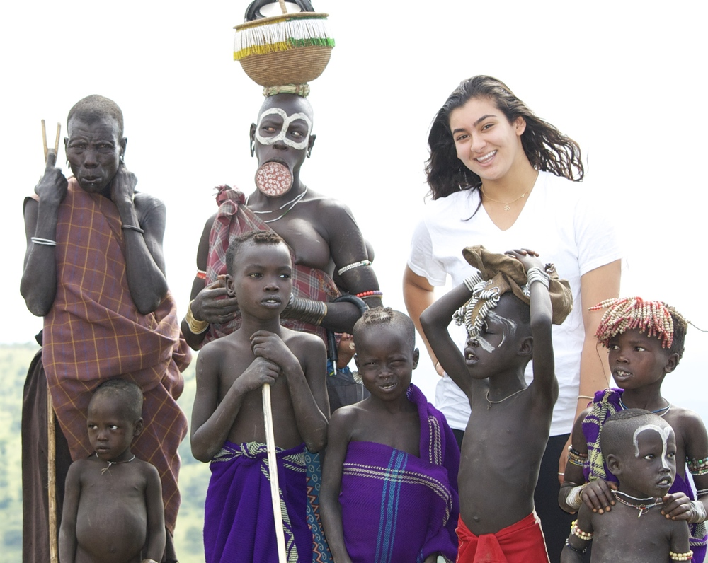 Mursi women and children