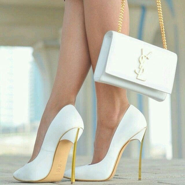 Yves Saint Laurent White Monogram Kate Medium Leather Chain Bag and Anja 105 Pump Heel