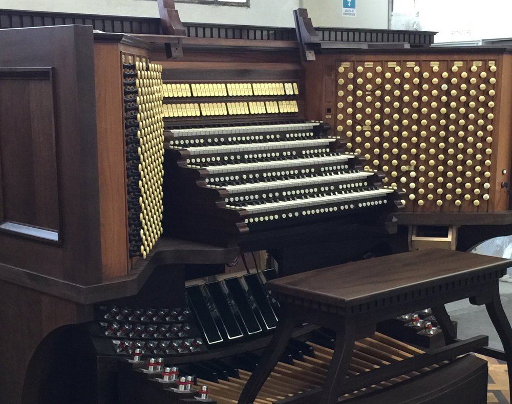 "The new console for ""Hazel Wright"" Organ in Christ Cathedral."