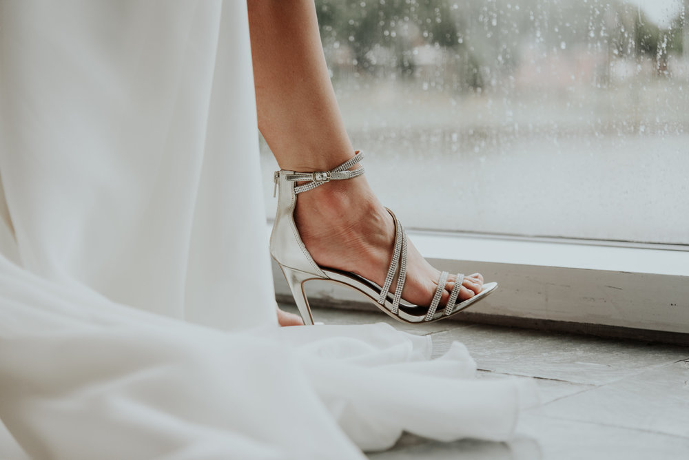 Wedding day shoe shot. Bridal details. Be Images
