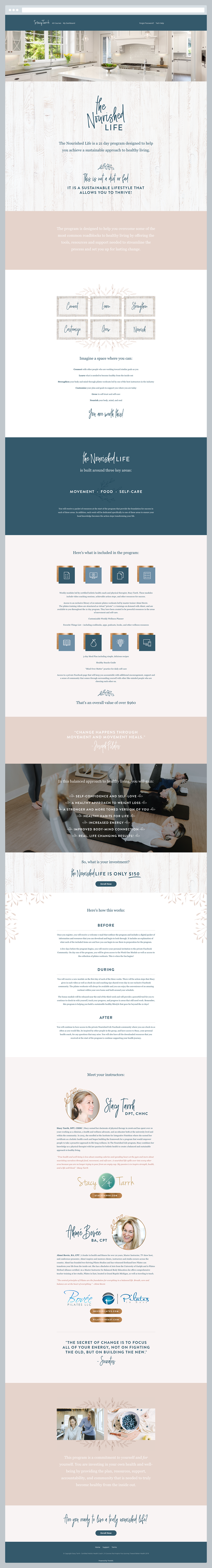 The Nourished Life Thinkific Sales Page by Janessa Rae Design Creative