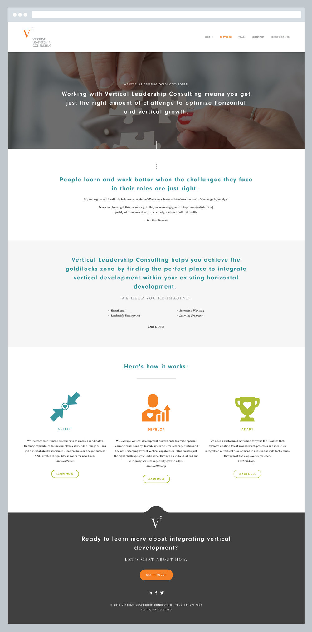Vertical Leadership Consulting - Services Page, by Janessa Rae Design Creative in collaboration with Sweaty Wisdom