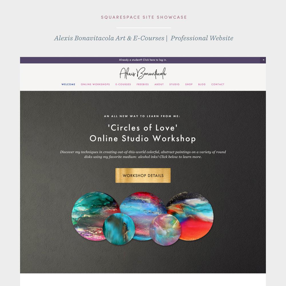Squarespace Site Showcase on Square Design Guild - Alexis Bonavitacola Art & E-Courses by Janessa Rae Design Creative