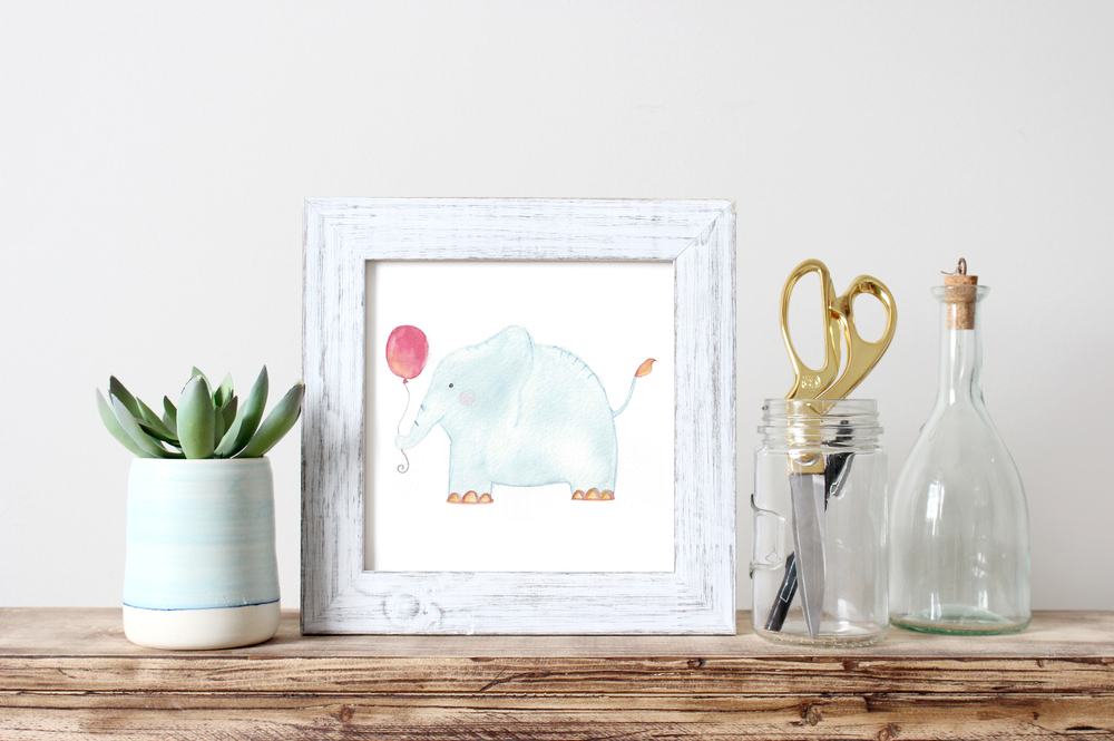 WATERCOLOR BLUE ELEPHANT PRINT | NURSERY ART BY VIE DE VIC