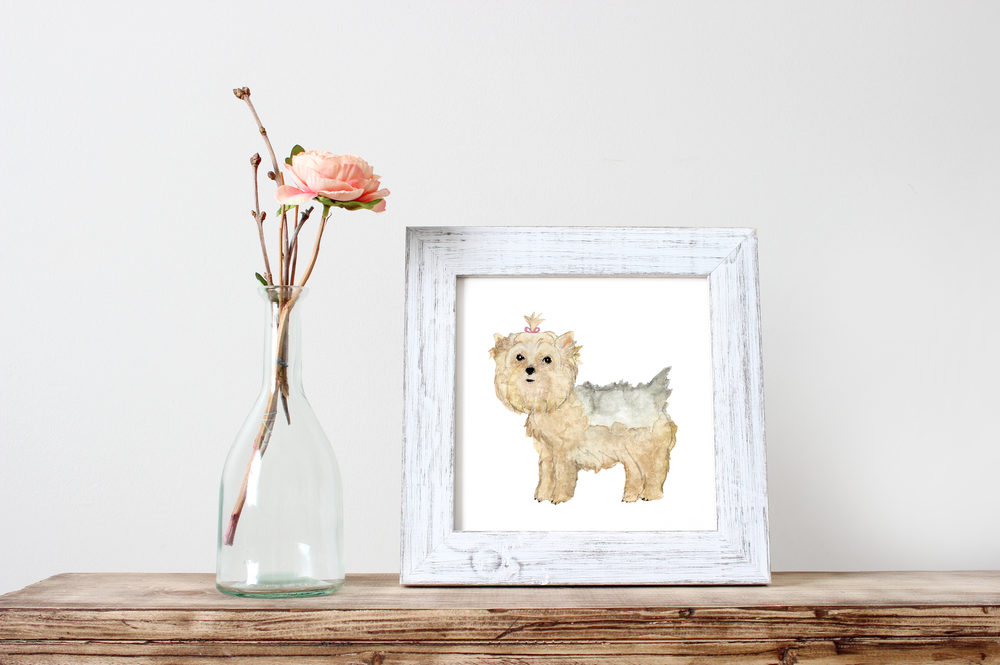 Yorkshire Watercolor Print | Pet Portrait | Wall Art by Vie de Vic