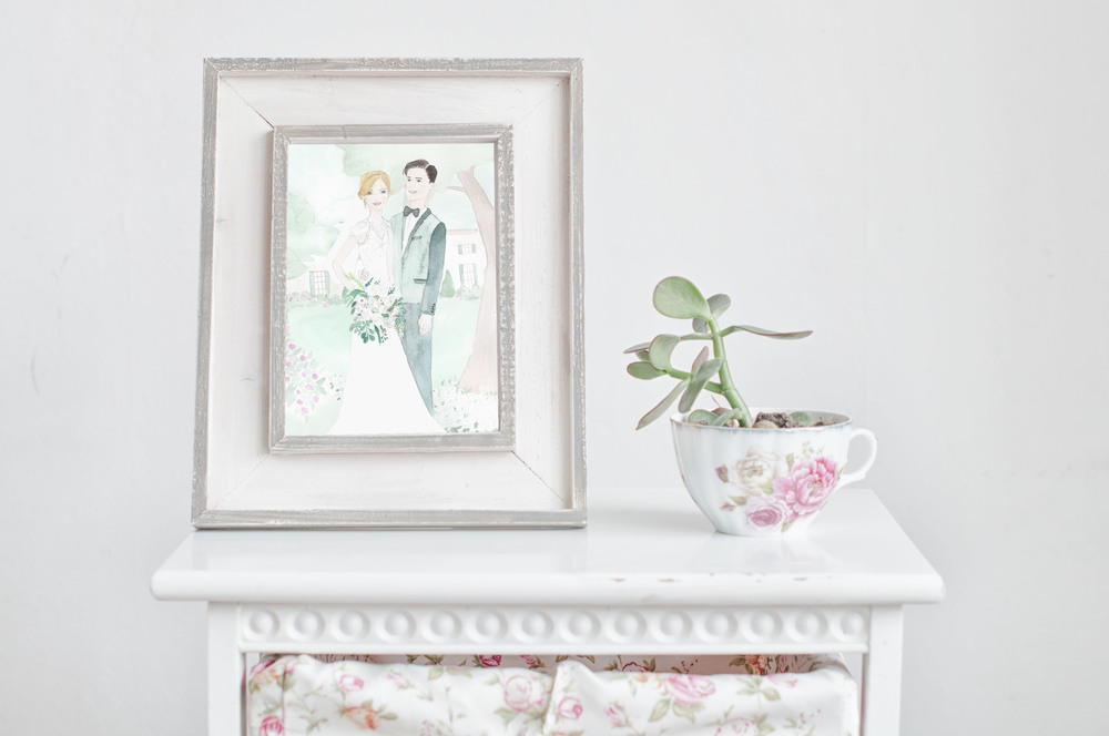 Watercolor Wedding Portrait by Vie de Vic | viedevic.com