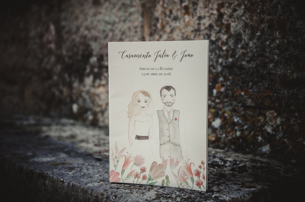 Watercolor Portraits and Invitations by Vie de Vic for a French Wedding at Abbaye de la Bussiere | Photo: Andrea Sarlo | viedevic.com