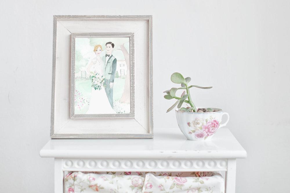 Watercolor Wedding Portrait as Anniversary Gift by Vie de Vic   viedevic.com