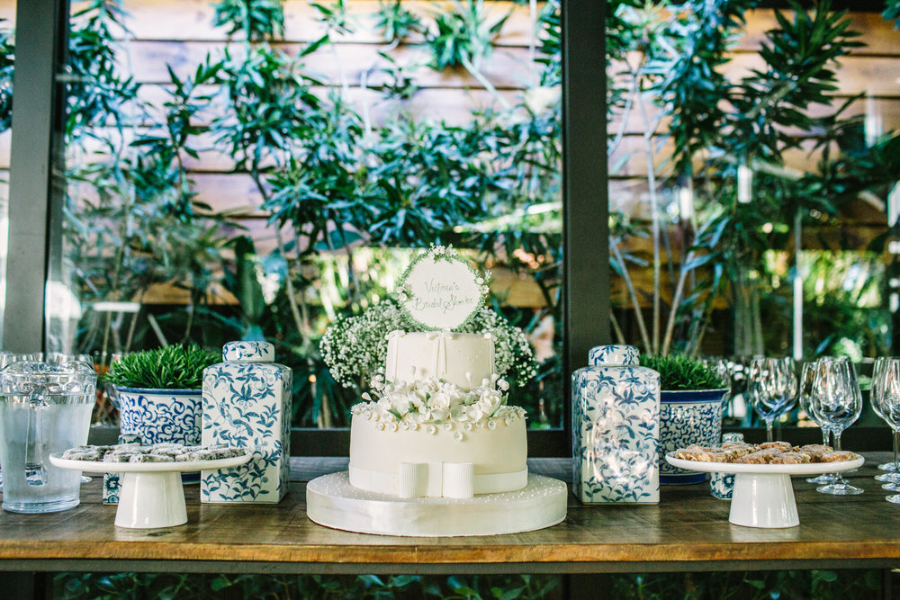 Rustic Chic Bridal Shower by Vie de Vic | Dessert table with bridal shower cake | viedevic.com