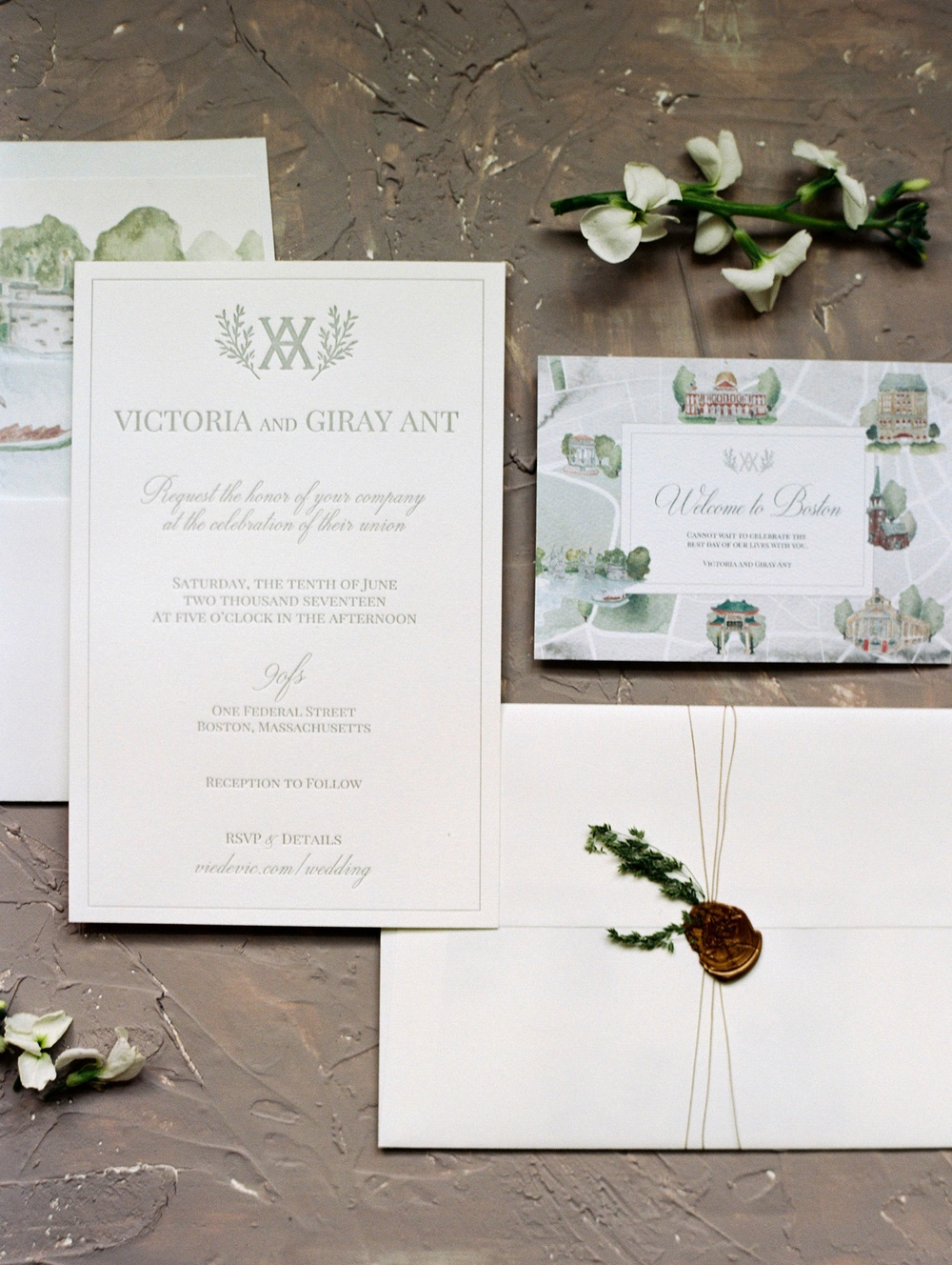 Traditional Wedding Watercolor Invitation White Wax Seal | viedevic.com | Photo: Renee Hollingshead