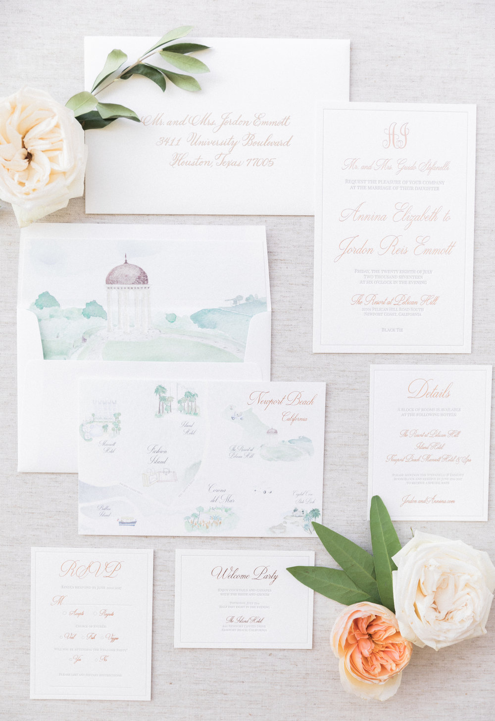 Pelican Hill Wedding Invitation Suite by Vie de Vic Fine Illustration & Stationery | Photo: Brandon Kidd Photo