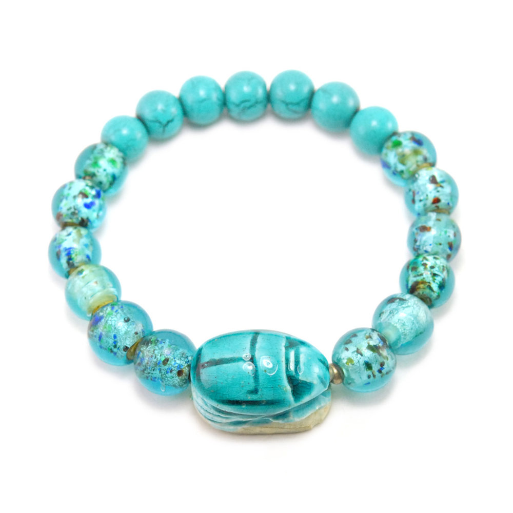 Vintage Egyptian Turquoise Scarab with Glass Wood Beads Stretchy