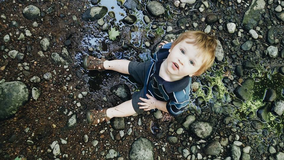 Playing on an exposed rock bar in the shallow Roaring Brook