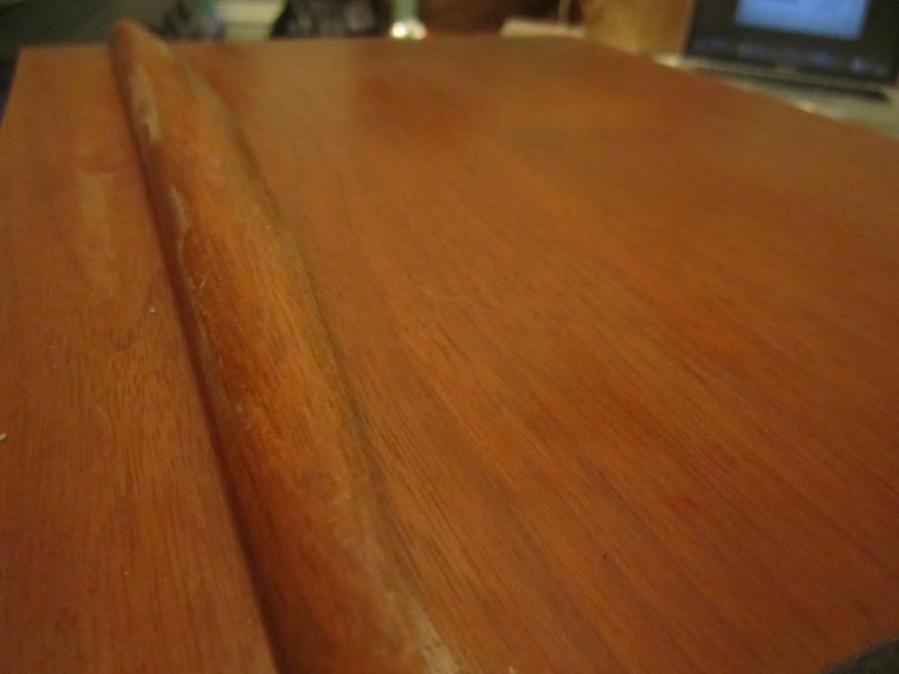 midcentury teak wood desk before