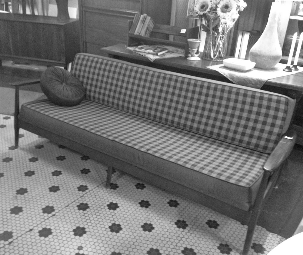 blue bicycle st paul antique store mid century couch